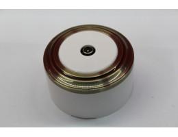 TV-розетка (белый механизм, бронза рамка, белый стакан)