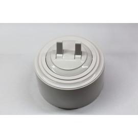 Пластиковый выключатель двухрычажковый (белый механизм, белая рамка, белый стакан)