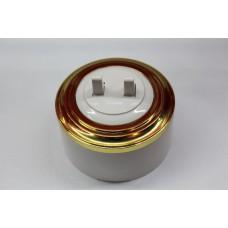 Пластиковый выключатель двухрычажковый (белый механизм, золотая рамка, белый стакан)