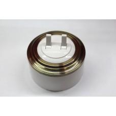 Пластиковый выключатель двухрычажковый (белый механизм, бронзовая рамка, белый стакан)