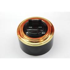 Пластиковый выключатель двухрычажковый (черный механизм, золотая рамка, черный стакан)