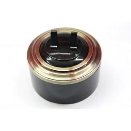 Пластиковый выключатель двухрычажковый (черный механизм, бронзовая рамка, черный стакан)