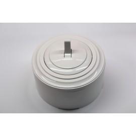 Пластиковый выключатель однорычажковый (белый механизм, белая рамка, белый стакан)
