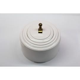 Пластиковый выключатель однорычажковый (белый механизм, белая рамка, белый стакан, рычаг золото)