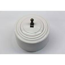 Пластиковый выключатель однорычажковый (белый механизм, белая рамка, белый стакан, рычаг бронза)