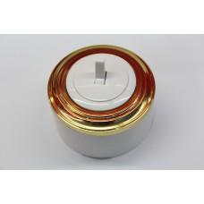 Пластиковый выключатель однорычажковый (белый механизм, золотая рамка, белый стакан)