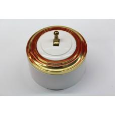 Пластиковый выключатель однорычажковый (белый механизм, золотая рамка, белый стакан, рычаг золото)