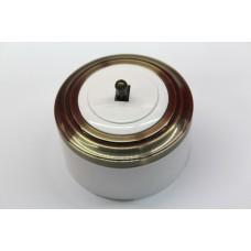 Пластиковый выключатель однорычажковый (белый механизм, бронзовая рамка, белый стакан, рычаг бронза)