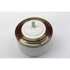 Пластиковый выключатель однорычажковый (белый механизм, бронзовая рамка, белый стакан)