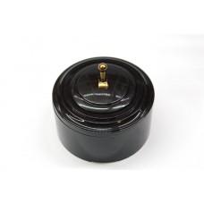 Пластиковый выключатель однорычажковый (черный механизм, черная рамка, черный стакан, рычаг золото)