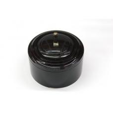 Пластиковый выключатель однорычажковый (черный механизм, черная рамка, черный стакан, рычаг бронза)