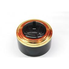 Пластиковый выключатель однорычажковый (черный механизм, золотая рамка, черный стакан)