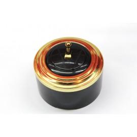 Пластиковый выключатель однорычажковый (черный механизм, золотая рамка, черный стакан, рычаг золото)