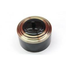 Пластиковый выключатель однорычажковый (черный механизм, бронзовая рамка, черный стакан)