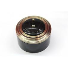 Пластиковый выключатель однорычажковый (черный механизм, бронзовая рамка, черный стакан, рычаг бронза)