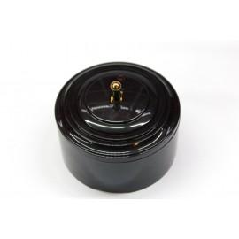 Пластиковый выключатель однорычажковый с индикатором (черный механизм, черная рамка, черный стакан, рычаг золото)