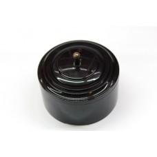 Пластиковый выключатель однорычажковый с индикатором (черный механизм, черная рамка, черный стакан, рычаг бронза)