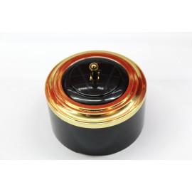 Пластиковый выключатель однорычажковый с индикатором (черный механизм, золотая рамка, черный стакан, рычаг золото)