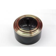 Пластиковый выключатель однорычажковый с индикатором (черный механизм, бронзовая рамка, черный стакан)