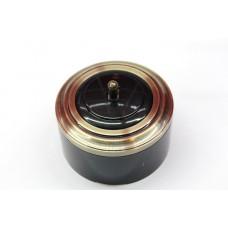 Пластиковый выключатель однорычажковый с индикатором (черный механизм, бронзовая рамка, черный стакан, рычаг бронза)