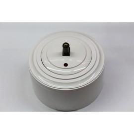 Пластиковый выключатель однорычажковый с индикатором (белый механизм, белая рамка, белый стакан, рычаг бронза)