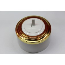 Пластиковый выключатель однорычажковый с индикатором (белый механизм, золотая рамка, белый стакан)