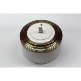Пластиковый выключатель однорычажковый с индикатором (белый механизм, бронзовая рамка, белый стакан)