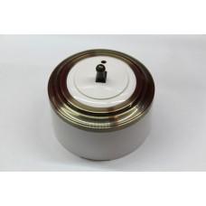 Пластиковый выключатель однорычажковый с индикатором (белый механизм, бронзовая рамка, белый стакан, рычаг бронза)