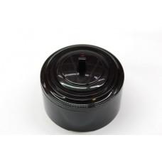 Пластиковый выключатель однорычажковый с индикатором (черный механизм, черная рамка, черный стакан)