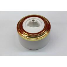 Пластиковый поворотный выключатель двухклавишный (белый механизм, золотая рамка, белый стакан)