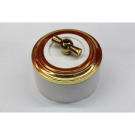 Пластиковый поворотный выключатель двухклавишный (белый механизм, золотая рамка, белый стакан, рычаг золото)