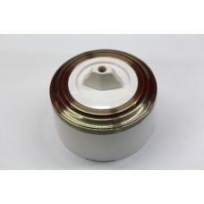 Пластиковый поворотный выключатель одноклавишный (белый механизм, бронзовая рамка, белый стакан)