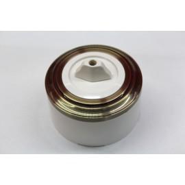 Пластиковый поворотный выключатель двухклавишный (белый механизм, бронзовая рамка, белый стакан)