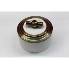 Пластиковый поворотный выключатель одноклавишный (белый механизм, бронзовая рамка, белый стакан, рычаг бронза)