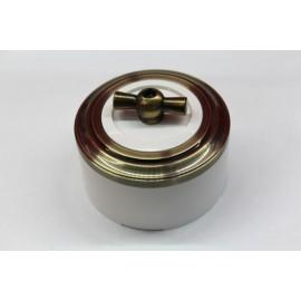 Пластиковый поворотный выключатель двухклавишный (белый механизм, бронзовая рамка, белый стакан, рычаг бронза)