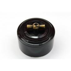 Пластиковый поворотный выключатель двухклавишный (черный механизм, черная рамка, черный стакан, рычаг бронза)