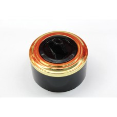 Пластиковый поворотный выключатель одноклавишный (черный механизм, золотая рамка, черный стакан)