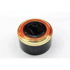 Пластиковый поворотный выключатель двухклавишный (черный механизм, золотая рамка, черный стакан)