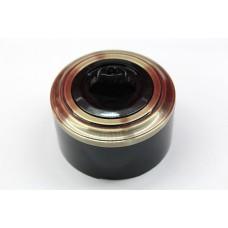 Пластиковый поворотный выключатель одноклавишный (черный механизм, бронзовая рамка, черный стакан)