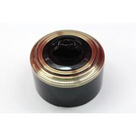 Пластиковый поворотный выключатель двухклавишный (черный механизм, бронзовая рамка, черный стакан)