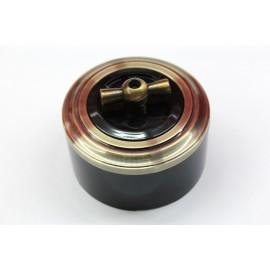 Пластиковый поворотный выключатель двухклавишный (черный механизм, бронзовая рамка, черный стакан, рычаг бронза)