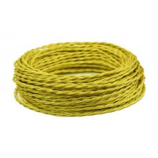 Ретро провод витой шелк желтый 2х2,5