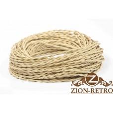 Ретро провод витой шелк песочный (карамельный) 2х1,5