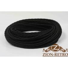 Ретро провод витой шелк черный 2х2,5