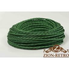 Ретро провод витой шелк зеленый 3х1,5