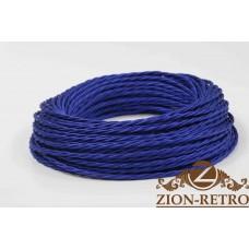 Ретро провод витой шелк синий 3х2,5