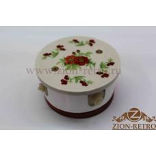 """Комбинированная распаячная коробка с круглой крышкой в стиле ретро, """"Лето"""", подрозетник вишня"""