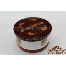 """Комбинированная распаячная коробка с круглой крышкой в стиле ретро, """"Магия золота"""", подрозетник вишня"""
