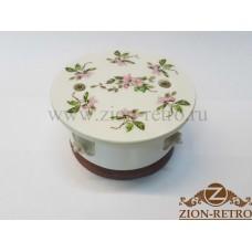 """Комбинированная распаячная коробка с круглой крышкой в стиле ретро, """"Нежность"""", подрозетник вишня"""