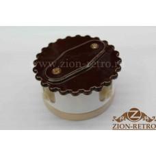 """Комбинированная распаячная коробка с фигурной крышкой в стиле ретро, """"Шоколад"""", подрозетник береза"""